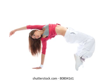 New pretty modern slim hip-hop style woman dancer break dancing isolated on a white studio background