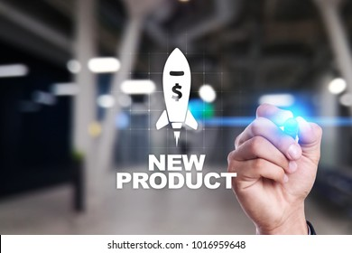 New product launch. Rocket icon on virtual screen. Marketing strategy, commercial innovation. Business concept.