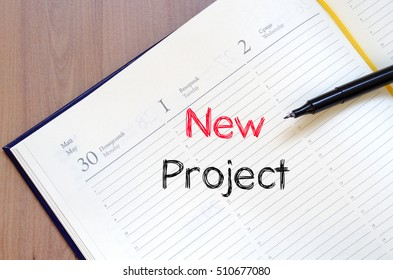 New project text concept write on notebook