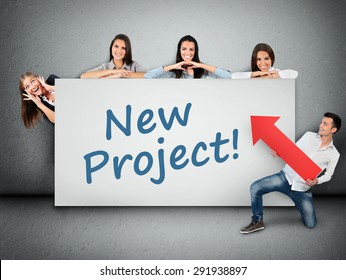 New project word writing on white banner