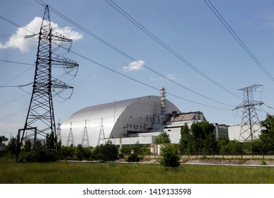 new protective shelter over the remains of the nuclear reactor Unit 4 at the Chernobyl nuclear power plant in Chernobyl, Ukraine, on 7 June 2019.