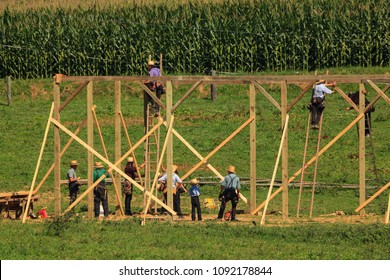 "New Providence, PA, USA - July 30, 2013: Amish farmers at a ""barn raising"" in rural Lancaster County."