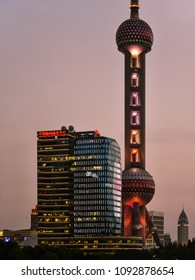 New Pudong, Shanghai/China - Apr. 24, 2018: Early evening view of Oriental Pearl Radio & TV Tower, Shanghai, China.