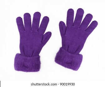 New Purple Knit Wool Gloves isolated on white background