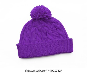 New Purple Knit Wool Hat with Pom Pom isolated on white background