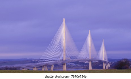 The new Queensferry Crossing Bridge, across the Firth of Forth, Queensferry, Scotland UK. January 2018