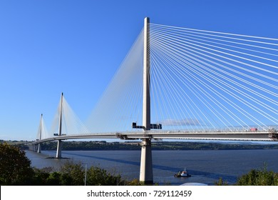 The new Queensferry Crossing over the river Forth near Edinburgh Scotland