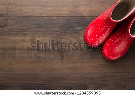 new red children's stylish gumboots on wooden floor with some copy space