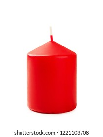 New red christmas candle isolated on white background
