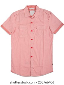 New red mens shirt. T-shirt Isolated on white