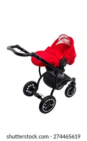 New red modern pram. Side view. Isolated on a white background.