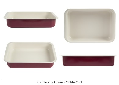 New red nonstick coating roasting pan isolated on white, oven tray