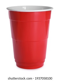 New red plastic cup on white background
