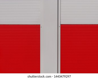 New red and white metal panel construction, wall of industrial building, suitable for background