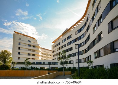 New residential building with modern facade in the city
