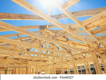 New residential construction home framing with roof view