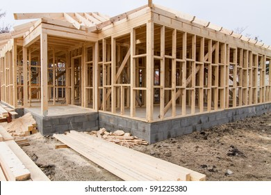 new residential construction house framing