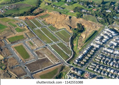 New Residential development in countryside with excavation works, infrastructure and new houses south of Auckland