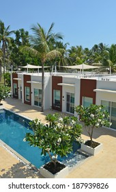 A new resort and residental blocks seen in Thailand with a swimmingpool