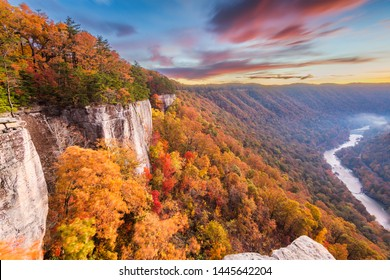 New River Gorge, West Virgnia, USA autumn morning lanscape at the Endless Wall.