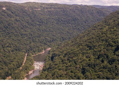 New River and Surrounding Mountains Seen From 1000 Feet up on the Endless Wall Trail in New River Gorge National Park