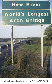 New River - World's Longest Arch Bridge sign