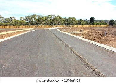 New road and footpaths in the making in a newly subdivided housing estate in suburban australia