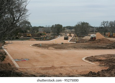 New road and neighborhood under construction