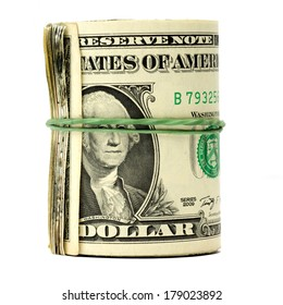 New roll of one dollar bills isolated