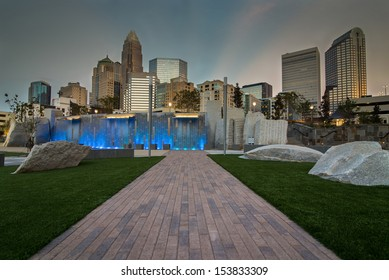 The new Romare-Bearden park in uptown Charlotte, North Carolina