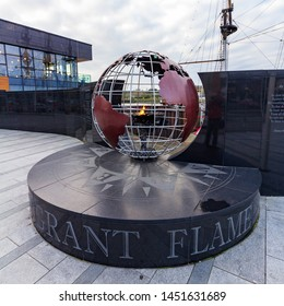 New Ross, Ireland - January 22, 2019 - The Emigrant Flame is an eternal flame commemorating Irish emigrants. It is located near the Dumbrody Famine Ship