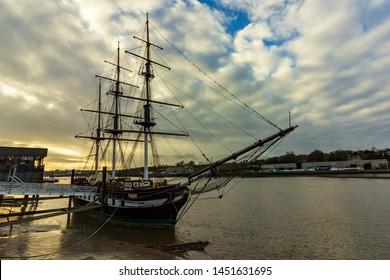 New Ross, Ireland - January 22, 2019 - A replica of the Dunbrody Famine Ship is moored on the banks of River Barrow. It is a popular tourist attraction in the town.