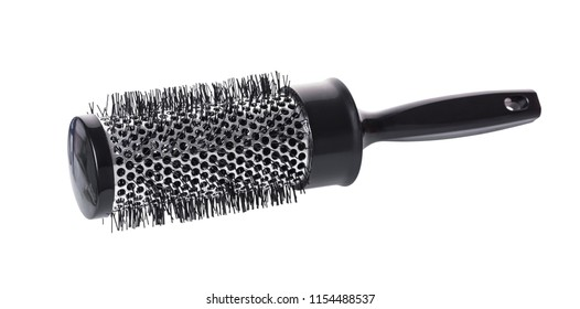 new round comb on white isolated background
