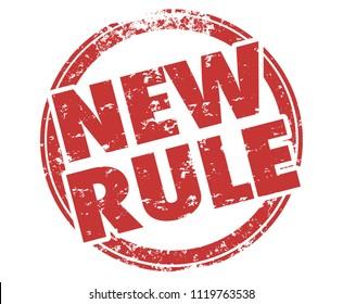 New Rule Stamp Recent Law Regulation 3d Illustration