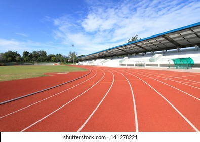 New running track and grandstand.