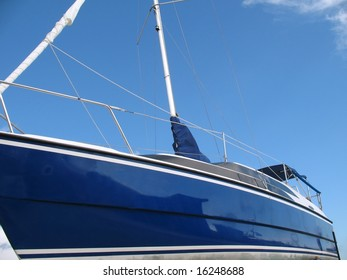 New Sailboat -- with a blue hull made from fiberglass
