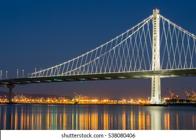 The New San Francisco's Bay Bridge East Wing at Dusk. Treasure Island, San Francisco, California, USA.