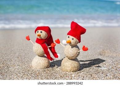 New, sand, snowman.