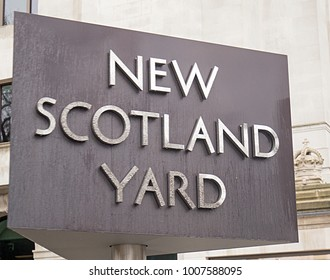 New Scotland Yard Revolving sign is an iconic landmark on the Victoria embankment in Westminster, London, 2018