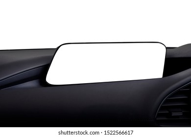 New screen technology in luxury cars. blank touch screen audio display conect movie or phone call with copy space for text or map digital. used for advertising background