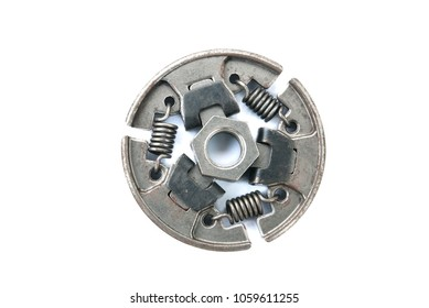 A new set of replacement automotive clutch on a white background. Disc and clutch basket with release bearing.