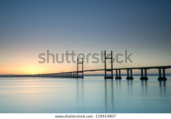 New Severn Bridge at sunrise