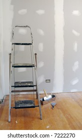 New sheetrock and ladder for home improvement.