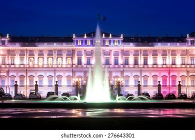 New shell-shaped fountain in front of Villa Reale, Monza, Italy