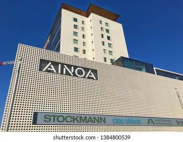 New shopping center called AINOA in tapiola.  21st April 2019. Finland, espoo, tapiola.