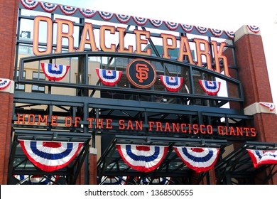 New sign for the Oracle Park. It is a baseball park located in the South Beach neighborhood of San Francisco, California, taken April 13, 2019.