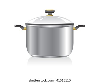 New silver pan isolated on white background.
