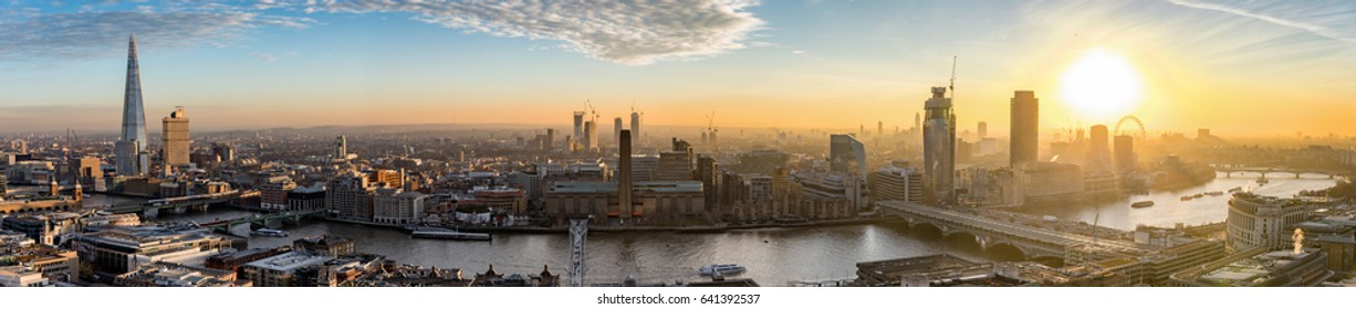 The new skyline of London during colorful sunset, United Kingdom