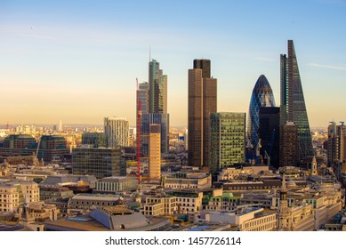 New Skyline of London at sunset.