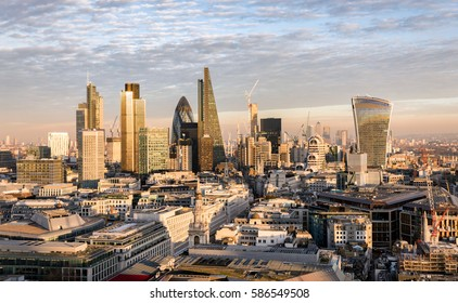 The new skyline of London at sunset time